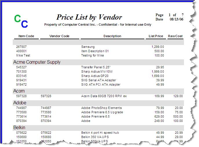 price list inventory